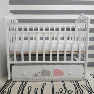 Кроватка By Twinz Мэри поперечный маятник с ящ. серый/розовый