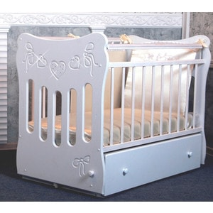 Островок уюта Кровать детская Бабочки (белый) маятник поперечный с ящиком