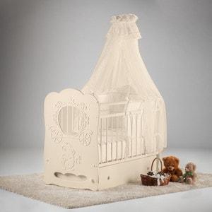 Кроватка Островок уюта Карета слоновая кость маятник поперечный с ящиком