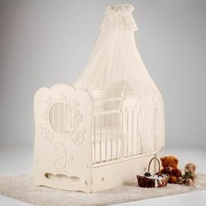 Кроватка Островок уюта Птенчики белый маятник поперечный с ящиком
