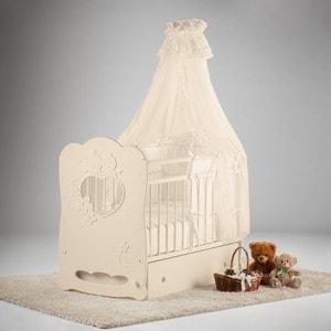Кроватка Островок уюта Птенчики слоновая кость маятник поперечный с ящиком цена и фото