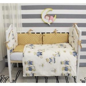Комплект в кроватку By Twinz 6 пр. Мишки-морячки коричневые бортики КЛАССИКА недорго, оригинальная цена