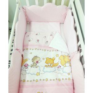цены Комплект в кроватку By Twinz 6 пр. Облачка КЛАССИКА розовый