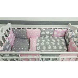 Комплект в кроватку с бортиками-подушками By Twinz 6 пр. Совята розовые