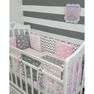 Комплект для круглой кроватки By Twinz Короны Розовые