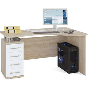 Стол компьютерный СОКОЛ КСТ-104.1 дуб сонома/белый левый
