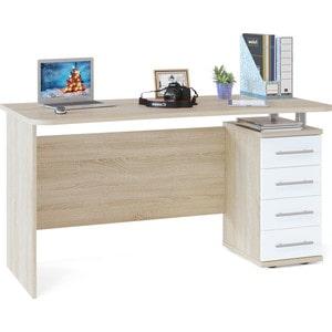 Стол компьютерный СОКОЛ КСТ-105.1 дуб сонома/белый стол компьютерный сокол кст 109п дуб сонома белый
