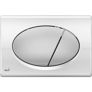 Кнопка смыва AlcaPlast хром глянцевая, кнопка - матовая (M73)