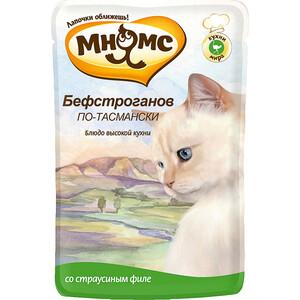 Паучи Мнямс Бефстроганов по-тасмански со страусиным филе для кошек 85г анчоусы flott филе в подсолнечном масле