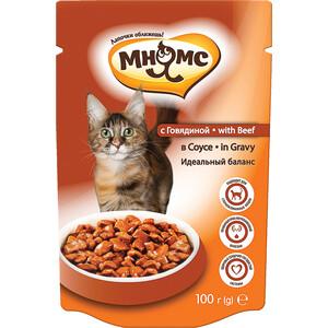 Паучи Мнямс with Beef in Gravy кусочки с говядиной в соусе идеальный баланс для кошек 100г
