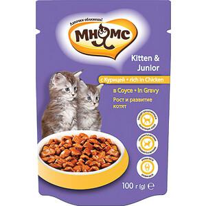 Паучи Мнямс Kitten & Junior Rich in Chicken Gravy кусочки с курицей в соусе рост и развитие для котят 100г