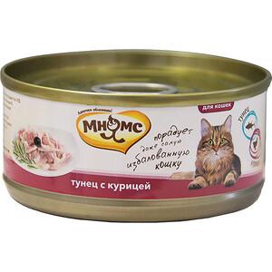 Консервы Мнямс Тунец с курицей в нежном желе для кошек 70г паучи для кошек и котов pcg ме о сардина с курицей и рисом в желе 80 г