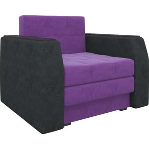 Кресло-кровать Мебелико Атлант микровельвет фиолетово-черный