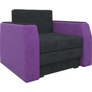 Кресло-кровать Мебелико Атлант микровельвет черно-фиолетовый