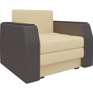 Кресло-кровать АртМебель Атлант эко-кожа бежево-коричневый кресло кровать артмебель комфорт эко кожа черный