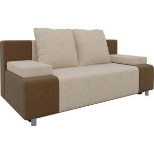 Диван-еврокнижка Мебелико Чарли микровельвет бежево-коричневый диван еврокнижка мебелико европа микровельвет зелено бежевый