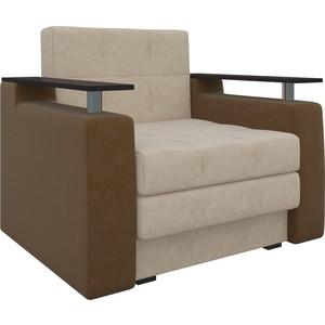 Кресло-кровать Мебелико Комфорт микровельвет бежево-коричневый все цены