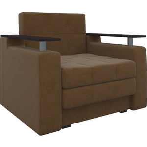 Кресло-кровать АртМебель Комфорт микровельвет коричневый