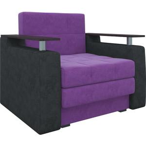 Кресло-кровать АртМебель Комфорт микровельвет фиолетово-черный