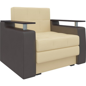 Кресло-кровать Мебелико Комфорт эко-кожа бежево-коричневый