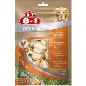 Лакомство 8in1 DELIGHTS S Chicken косточка 11см с курицей для собак мелких и средних пород (6шт) фото