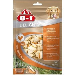 Лакомство 8in1 DELIGHTS XS Chicken косточки 7,5см сверхпрочные с курицей для собак мелких пород (21шт)