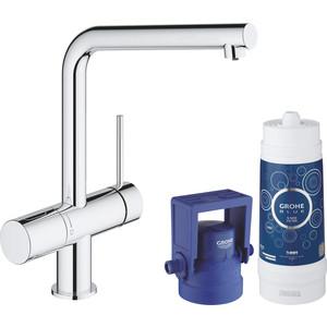 Смеситель для кухни Grohe Blue с функцией фильтрации воды (31345002) bdsm арсенал кожаные наручники с пряжкой красно черные на регулируемых ремешках