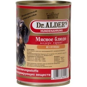 Консервы Dr.ALDERs Мясное блюдо алдерс гарант из птицы для собак 410г (7742)