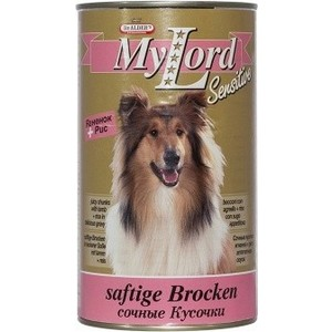 Консервы Dr.ALDERs MyLord Sensitive Softige Brocken сочные кусочки с ягненком и рисом для собак 1,23кг (1838)