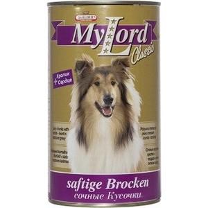 Консервы Dr.ALDERs MyLord Classic Softige Brocken сочные кусочкис кроликом и сердцем для собак 1,23кг (1845)