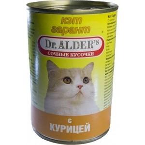 Консервы Dr.ALDER's Кэт гарант сочные кусочки с курицей для кошек 415г (1906) фото