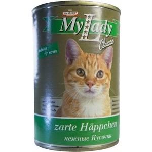 Консервы Dr.ALDERs MyLady Classic Zarte Happchen нежные кусочки с индейкой и почками для кошек 415г (1968)
