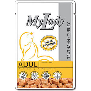 Паучи Dr.ALDERs MyLady Super Premium Adult Turkey с индейкой для кошек 85г (400776)