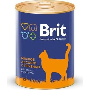 Консервы Brit Premium Cat Beef & Liver мясное ассорти с печенью для взрослых кошек 340г (9426)