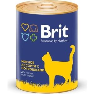 Консервы Brit Premium Cat Beef & Offal мясное ассорти с потрошками для взрослых кошек 340г (9433)
