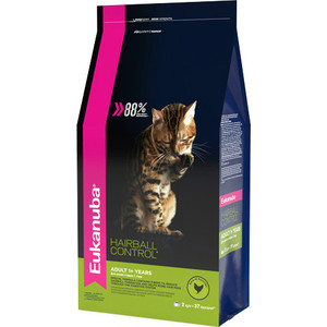 Сухой корм Eukanuba Adult Cat Hairball Control Rich in Poultry с домашней птицей вывода шерсти из желудка для кошек 2кг цена