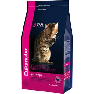 Сухой корм Eukanuba Adult Cat Sterilised / Weight Control Rich in Poultry с домашней птицей для стерилизованных и избыточным весом кошек 1,5кг