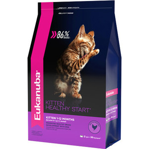 Сухой корм Eukanuba Kitten Healthy Start Rich in Poultry с домашней птицей для котят 2кг сухой корм eukanuba senior cat top condition rich in poultry с домашней птицей для кошек старше 7лет 2кг