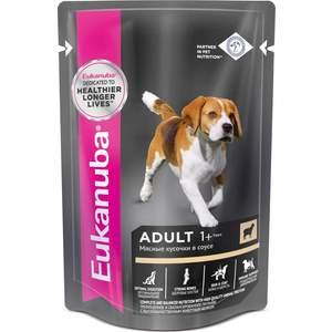 Паучи Eukanuba Adult Dog with Lamb с ягненком мясные кусочки в соусе для собак 100г фото