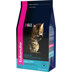 Сухой корм Eukanuba Senior Cat Top Condition Rich in Poultry с домашней птицей для кошек старше 7лет 2кг сухой корм cat chow adult 3 in 1 rich in poultry and turkey с домашней птицей и индейкой для взрослых кошек 15кг 12212334