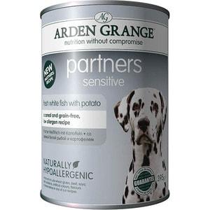 Консервы ARDEN GRANGE Adult Dog Partners Sensitive Fresh White Fish with Potato с белой рыбой и картофелем для чувствительных собак 395г (AG825016)