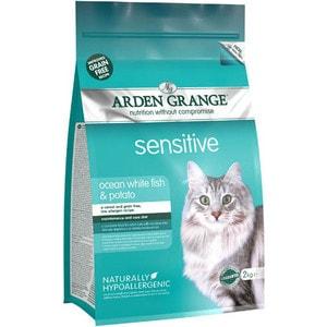 Сухой корм ARDEN GRANGE Adult Cat Sensitive Grain Free Ocean White Fish&Potato беззерновой с рыбой и картофелем для чувствительных кошек 8кг (AG618403)