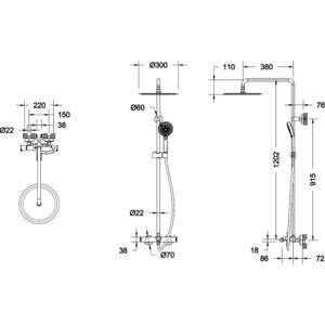 Душевая система Bravat Waterfall SS с термостатическим смесителем для ванны (F639114C-A5-RUS) душевая система bravat waterfall f939114c a rus хром