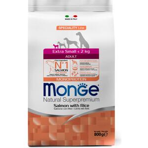 Сухой корм Monge Speciality Line Adult Dog Extra Small Salmon and Rice с лососем и рисом для взрослых собак миниатюрных пород 800г