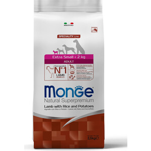 Сухой корм Monge Speciality Line Adult Dog Extra Small Lamb, Rice and Potatoes с ягненком, рисом и картофелем для собак миниатюрных пород 2,5кг фото