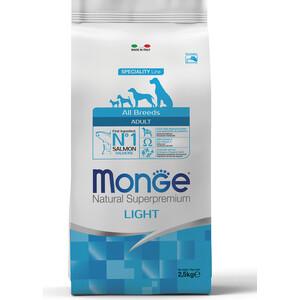 Сухой корм Monge Speciality Line Adult Dog All Breed Light Salmon низкокалорийный с лососем для взрослых собак всех пород 2,5кг корм сухой monge dog speciality light для собак всех пород низкокалорийный с лососем и рисом 2 5 кг