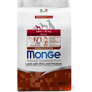Сухой корм Monge Speciality Line Adult Dog Mini Lamb, Rice and Potatoes с ягненком, рисом и картофелем для взрослых собак мелких пород 800г корм для собак monge dog speciality свинина с рисом и картофелем сух 2 5кг
