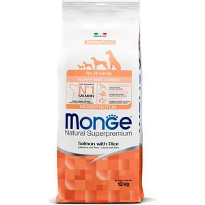 Сухой корм Monge Speciality Line Puppy and Junior All Breed Salmon and Rice с лососем и рисом для щенков всех пород 12кг фото