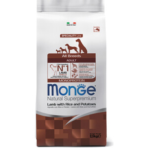 Сухой корм Monge Speciality Line Adult Dog All Breed Lamb, Rice and Potatoes с ягненком, рисом и картофелем для собак всех пород 2,5кг фото