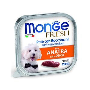 Консервы Monge Dog Fresh Pate and Chunkies with Duck паштет и кусочки с уткой для собак 100г фото